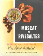 ETIQUETTE 3 étiquettes Muscat De Rivesaltes Ets CLARAC Sète  Format 135 X 105 3scans - Otros