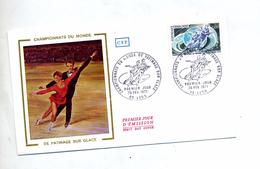 Lettre  Fdc 1971 Lyon Championnat Monde Patinage - 1970-1979