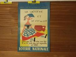 AFFICHE LOTERIE NATIONALE . GROVE. FABLE DE MA FONTAINE. LA LAITIERE ET LE POT AU LOT.1958. - Posters