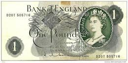 GREAT BRITAIN 1 POUND GREEN QEII HEAD FRONT WOMAN BACK MOTIF P.374c ND (1962-66) SIGN.JQ HOLLOM READ DESCRIPTION !! - 1952-… : Elizabeth II