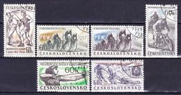 Tchécoslovaquie 1957 Mi 1013-7+1034 (Yv 900-4+919), Obliteré