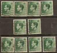 Great Britain 1936 SG 457 1/2d Green Good Used X10 - Lots & Kiloware (max. 999 Stück)