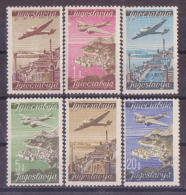 63-990 // YUGO - 1947   AIR MAIL  STAMPS  -  AIRPLANES   Mi  515/20 ** - 1945-1992 Socialist Federal Republic Of Yugoslavia