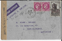 1940 - ENVELOPPE Par AVION De MARSEILLE => FORT DE FRANCE (MARTINIQUE) Avec RARE BANDE CENSURE - Storia Postale
