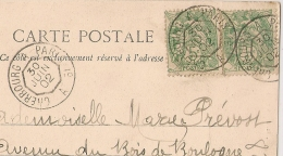 AMULANT De JOUR, CHERBOURG A PARIS 1° A Sur 2 Types Blanc. CP De BEAUMONT LE ROGER. - Postmark Collection (Covers)
