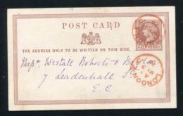 GB LONDON STATIONERY UNUSUAL RED CANCEL 1875 - 1840-1901 (Victoria)