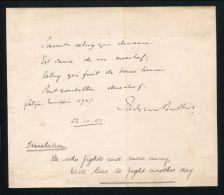 GENERAL REDVERS BULLER VC 1901 HANDWRITTEN FRENCH QUOTATION 'HE WHO FIGHTS' - Historische Documenten