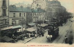 Un Coin Du Marché Tramway à Cheval  Carte Colorisée - Pantin
