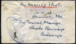 RHODESIA BULAWAYO WORLD WAR TWO RAILWAY BY HAND OF PILOT 1943 - Great Britain (former Colonies & Protectorates)