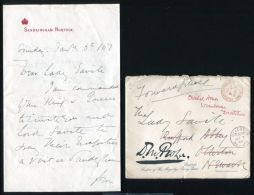 D M PROBYN VC LETTER ENVELOPE LADY SAVILE VISIT EDWARD VII SANDRINGHAM - Other Collections