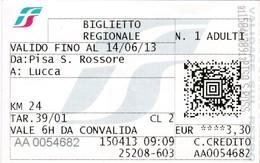 Europa : Italia :  Biglietto Regionale   ( 15 - 04 - 2013 )   Van PISA ( S.POSSORE ) => LUCCA - Chemins De Fer