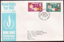 HONG KONG 1968 HUMAN RIGHTS FDC - Hong Kong (...-1997)
