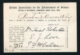 TICKET BRITISH ASSOCIATION FOR THE ADVANCEMENT OF SCIENCE 1866 NOTTINGHAM - Other Collections