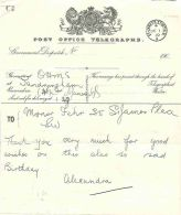 GB ROYALTY/1910/HM QUEEN ALEXANDRA/TELEGRAM - Other Collections
