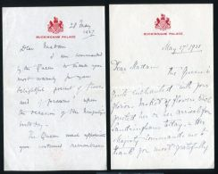FOUR BUCKINGHAM PALACE LETTERS LADY IN WAITING QUEEN MARY MISS WINIFRED DUNCAN - Unclassified
