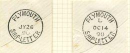GB PLYMOUTH DEVON SHIP LETTER POSTMARKS - 1840-1901 (Victoria)