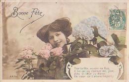 Bonne Fête        176       Bonne Fête ( Femme Aux Fleurs ) Pour Ta Fête Accepte Ma Rose....... - Fêtes - Voeux