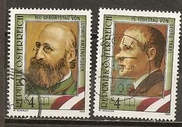 Autriche Austria 1989 Ecrivains Writers Set Complete Obl - 1971-80 Lettres