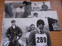 FIVE ORIGINAL B&W PHOTOS CAPTAIN MARK PHILLIPS AT EQUESTRIAN HORSE RIDING EVENT - Photographs