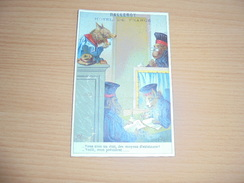 "Chromo "" Balleroy-Hotel De France-Vve Vintras "" : Chien-chat Et Singes Au Tribunal - Trade Cards"