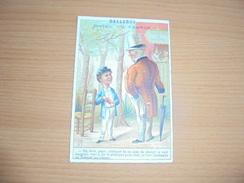 """Chromo """" Balleroy-Hotel De France-Vve Vintras """" : Un Père Et Son Fils-Théâtre De Guignol - Trade Cards"""