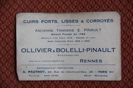Carte De Visite - OLLIVIER Et BOLELLI PINAULT, Tannerie, à PARIS - Cartes De Visite
