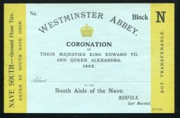 FINE UNUSED TICKET FOR THE CORONATION OF KING EDWARD VII & QUEEN ALEXANDRA - Other Collections