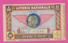 Billet Loterie Nationale - 1939 - 2 ème Tranche - Union Nationale Des  Combattants - Billets De Loterie