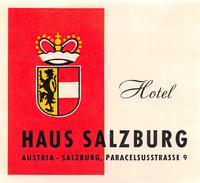"""D5787 """" HOTEL HAUS SALZBURG - AUSTRIA """" ETICHETTA ORIGINALE - ORIGINAL LABEL - Adesivi Di Alberghi"""