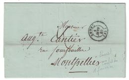 CAD 1 JANVIER 1849 (1er JOUR D'EMISSION DU TIMBRE) Sur LAC NON AFFRANCHIE TAXÉE De LUNEL Pour MONTPELLIER (DECEMBRE 1848