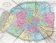 Paris Et Son Mur D'enceinte.feuille:223 X 174 Mm.19e - Cartes Géographiques