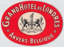 """D5790 """"GRAND HOTEL DE LONDRES - ANVERS - BELGIQUE """" ETICHETTA ORIGINALE - ORIGINAL LABEL - Adesivi Di Alberghi"""