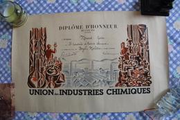 Diplôme D'Honneur De L'Union Des Industries Chimiques - Diplômes & Bulletins Scolaires