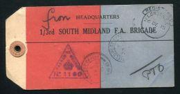 GB WORLD WAR ONE PARCEL TAG SOUTH MIDLAND F.A. BRIGADE WATCH 1915 - Great Britain