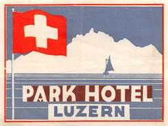 """D5792 """"PARK HOTEL - LUZERN"""" ETICHETTA ORIGINALE - ORIGINAL LABEL - Adesivi Di Alberghi"""