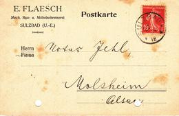 Postkarte Affr Y&T 135 Obl SULZBAD Du 22.3.19 - Timbre à Date Allemand - Marcophilie (Lettres)