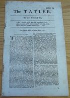 THE TATLER BY ISAAC BICKERSTAFF 1710 SALE OF LOOKING GLASSES & WINES BY CANDLE - Old Paper