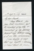 LETTER FROM PRINCE ALFRED DUKE OF EDINBURGH RE HIS HEALTH SIR JOHN COWELL 1889 - Other Collections