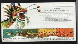 HONG KONG 1985 DRAGON BOAT SET & S/S - Hong Kong (...-1997)