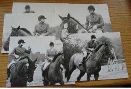 FIVE ORIGINAL B&W PHOTOS PRINCESS ANNE PRINCESS ROYAL EQUESTRIAN HORSE RIDING - Photographs