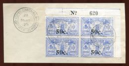 FRENCH NEW HEBRIDES 1924 OVERPRINT BLOCK OF FOUR - Europe (Other)