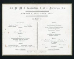HM INSPECTORS OF FACTORIES LUNCH 1887 HOLBORN LONDON - Old Paper