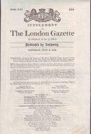 THE LONDON GAZETTE 1853 REGARDING BAPTISM PRINCE LEOPOLD WITH NEWSPAPER STAMP - Old Paper