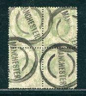 GB 1887 QUEEN VICTORIA 1887 JUBILEE BLOCK OF 4 1 SHILLING - 1840-1901 (Victoria)