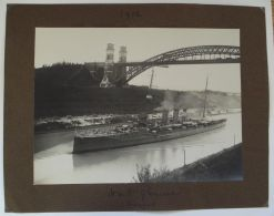 LARGE ANTIQUE PHOTO OF HMS GLOUCESTER IN 1912 POSSIBLY IN SCOTLAND ON A CANAL - Photographs