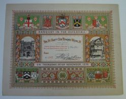 FINE LARGE LONDON GUILDHALL BANQUET TICKET 1876 RT. HON. SIR THOMAS WHITE - Old Paper