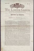 THE LONDON GAZETTE 1811 REGARDING THE BATTLE OF BARROSA WITH NEWSPAPER STAMP - Vieux Papiers