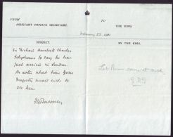 MEMORANDUM PONSONBY KING GEORGE V SIR RICHARD CHARLES HAVELOCK 1911 - Other Collections