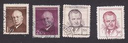 Czechoslovakia, Scott #340-341, 363-364, Used, Benes, Gottwald, Issued, 1948
