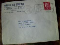 Enveloppe A Entete Moulin Des Osmeaux A Dreux   Cachet Dreux Eure Et Loir   Flamme   Dreux ..ses Curiositees..1970 - Marcophilie (Lettres)